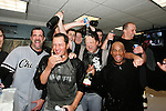BOSTON - OCTOBER 7:  The White Sox celebrate after winning  Game 3 of the American League Divisional Series against the Boston Red Sox at Fenway Park on October 7, 2005 in Boston, Massachusetts.   The White Sox defeated the Red Sox 5-3 to sweep the Red Sox and advance to the American League Championship Series.