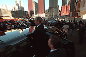 After attending a memorial service at Ground Zero in New York, New York, on Sunday, November 11, 2001, United States President George W. Bush gives a thumbs-up sign to the working construction crews..Mandatory Credit: Eric Draper - White House via CNP.
