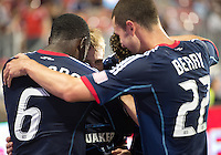 12 September 2012:  Chicago Fire players celebrate a goal byChicago Fire forward Chris Rolfe #18 during an MLS game between the Chicago Fire and Toronto FC at BMO Field in Toronto, Ontario..The Chicago Fire won 2-1..