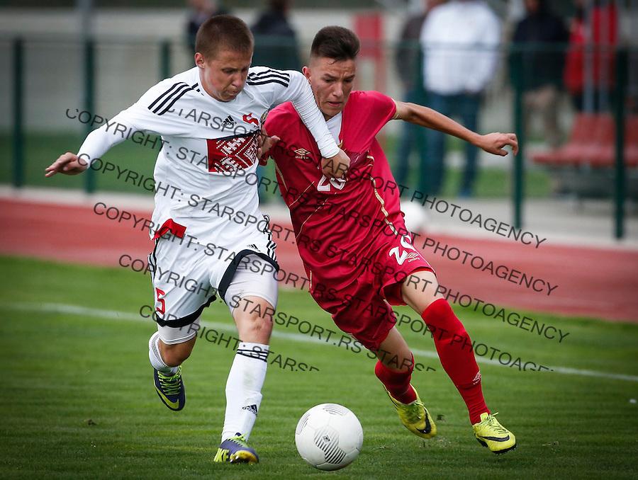 Fudbal Soccer<br /> International Friendly-Prijateljski mec<br /> Srbija U17 v Belorusiaj U17<br /> Mihajlo Neskovic (R) and Uladzislau Hlinski<br /> Stara Pazova, 20.09.2016<br /> foto: Srdjan Stevanovic/Starsportphoto &copy;