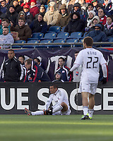 DC United forward Charlie Davies (9) after ankle contact. In a Major League Soccer (MLS) match, the New England Revolution defeated DC United, 2-1, at Gillette Stadium on March 26, 2011.