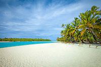 The famous white sand beach of One Foot Island in Aitutaki Lagoon, Cook Islands.