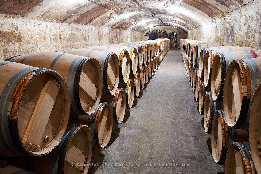 barrel aging cellar ch lafite rothschild pauillac medoc bordeaux france