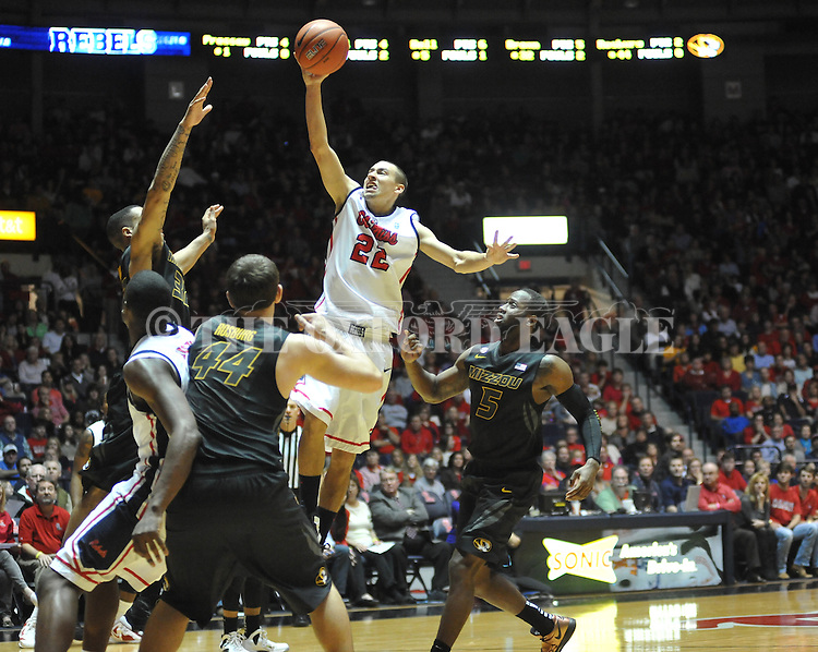 Ole Miss' Marshall Henderson (22) shoots vs. Missouri at the C.M. &quot;Tad&quot; Smith Coliseum on Saturday, January 12, 2013. Ole Miss defeated #10 ranked Missouri 64-49.