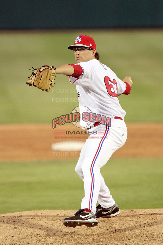 Kyle Hurst #63 of the Inland Empire 66'ers pitches against the Stockton Ports at Arrowhead Credit Union Park in San Bernardino,California on May 5, 2011. Photo by Larry Goren/Four Seam Images