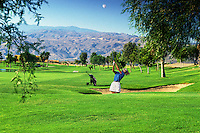 Woman Golfer Hitting from Sandtrap, Golfing, Ball, Clubs, Bag