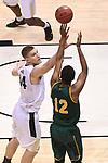 MILWAUKEE, WI - MARCH 16:  Purdue Boilermakers center Isaac Haas (44) attempts a block on Vermont Catamounts forward Darren Payen (12) during the second half of the 2017 NCAA Men's Basketball Tournament held at BMO Harris Bradley Center on March 16, 2017 in Milwaukee, Wisconsin. (Photo by Jamie Schwaberow/NCAA Photos via Getty Images)