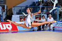 Delphine Ledoux of France performs with ribbon at 2010 Holon Grand Prix at Holon, Israel on September 3, 2010.  (Photo by Tom Theobald).