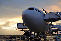 Airplane on tarmac being unloaded after landing, at sunset, Punta Cana Airport, Dominican Republic