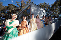 Models wait to go onstage L-R Pia Andersen, Beccie Leathley, Katerina Valentina, Rita Fontaine, Caroline Thorburn, Sophie Raper and Victoria Wimsett at The 2012 Historic Houses Trust of NSW annual Fifties Fair at Rose Seidler House, Sydney. Picture James Horan