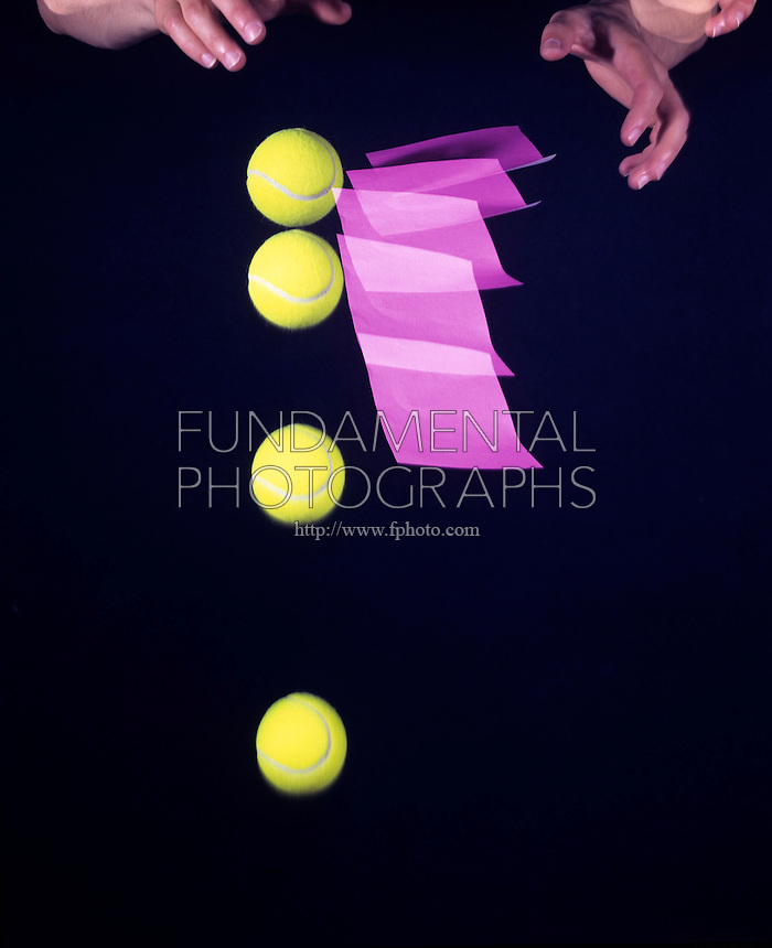 FALLING BALL &amp; PAPER -stroboscopic<br /> Newton's Second Law of Motion<br /> The 3&quot; tennis ball  will reach the ground first. The paper experiences greater air resistance resulting in a smaller net force acting upon it  and it falls more slowly than the ball. Exposure made at 10 flashes per second for 1/2 second.