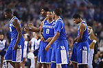 07 April 2014: The University of Kentucky starting five takes the court before tip off against the University of Connecticut during the 2014 NCAA Men's DI Basketball Final Four Championship at AT&T Stadium in Arlington, TX. Connecticut defeated Kentucky 60-54 to win the national title. Peter Lockley/NCAA Photos