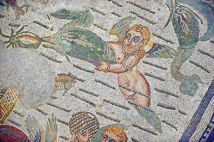 Cupid and a dolphin Roman mosaic from the Room of the Fishing Cupids no 24, at the Villa Romana del Casale which containis the richest, largest and most complex collection of Roman mosaics in the world, circa the first quarter of the 4th century AD. Sicily, Italy. A UNESCO World Heritage Site.