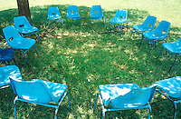 Uganda. Kayunga district. Kayunga. Youth centre. The Syngenta Foundation for Sustainable Agriculture has organised a worshop for farmers on the sustainability of  projects. The farmers have taken a break. The blue chairs are all empty and in a circle.© 2004 Didier Ruef
