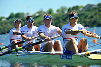 Hamilton, NEW ZEALAND. GBR M4-. Bow Alex PARTRIDGE, Rick EGINGTON, Alex GREGORY and Matt LANDGRIDGE, move away from the start in the Men's Four.  2010 World Rowing Championship on Lake Karapiro Sunday  31/10/2010. [Mandatory Credit Peter Spurrier:Intersport Images].