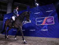 OMAHA, NEBRASKA - MAR 30: Gregory Wathelet enters the ring for the award ceremony for the FEI World Cup Jumping Final II after finishing second at the CenturyLink Center on March 31, 2017 in Omaha, Nebraska. (Photo by Taylor Pence/Eclipse Sportswire/Getty Images)