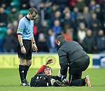 Hibs v St Johnstone....21.12.13    SPFL<br /> Murray Davidson lies injured<br /> Picture by Graeme Hart.<br /> Copyright Perthshire Picture Agency<br /> Tel: 01738 623350  Mobile: 07990 594431