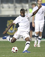 Maurice Edu #19 of the USA MNT during an international friendly match against Colombia at PPL Park, on October 12 2010 in Chester, PA. The game ended in a 0-0 tie.