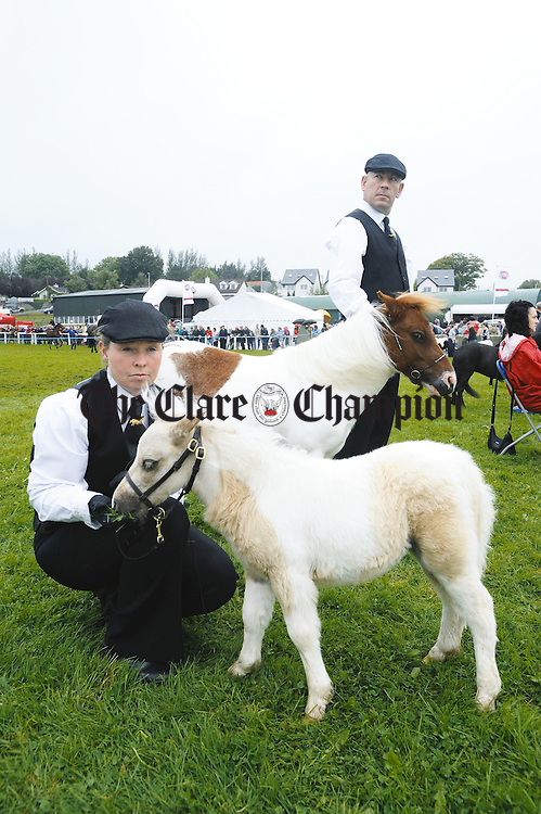 Joanne and Austin and Denis Halpenny with their miniatures at the Clare County Show in Ennis. Photograph by John Kelly.