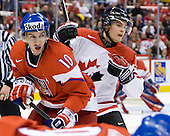 Ondrej Roman (Czech Republic - 10), Brett Sonne (Canada - 12) - Team Canada defeated the Czech Republic 8-1 on the evening of Friday, December 26, 2008, at Scotiabank Place in Kanata (Ottawa), Ontario during the 2009 World Juniors U20 Championship.