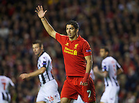 LIVERPOOL, ENGLAND - Thursday, October 4, 2012: Liverpool's Luis Alberto Suarez Diaz in action against Udinese Calcio during the UEFA Europa League Group A match at Anfield. (Pic by David Rawcliffe/Propaganda)