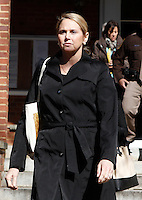 CHARLOTTESVILLE, VA - FEBRUARY 07: George Huguely's mother Marta Murphy walks outside the Charlottesville Circuit Courthouse during her son George Huguely's trial. Huguely was charged in the May 2010 death of his girlfriend Yeardley Love. She was a member of the Virginia women's lacrosse team. Huguely pleaded not guilty to first-degree murder. (Credit Image: © Andrew Shurtleff