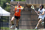 16 May 2015: Princeton's Erin Slifer (13) and Duke's Maura Schwitter (5). The Duke University Blue Devils hosted the Princeton University Tigers at Koskinen Stadium in Durham, North Carolina in a 2015 NCAA Division I Women's Lacrosse Tournament quarterfinal match. Duke won the game 7-3.