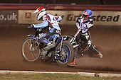 Heat 15: Piotr Swiderski (red) and Lee Richardson crash out - Lakeside Hammers vs Wolverhampton Wolves - Elite League Speedway at Arena Essex Raceway - 16/05/11 - MANDATORY CREDIT: Gavin Ellis/TGSPHOTO - Self billing applies where appropriate - Tel: 0845 094 6026
