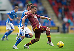 St Johnstone v Motherwell...22.08.15  SPFL   McDiarmid Park, Perth<br /> Scott MCdonald and Chris Millar<br /> Picture by Graeme Hart.<br /> Copyright Perthshire Picture Agency<br /> Tel: 01738 623350  Mobile: 07990 594431