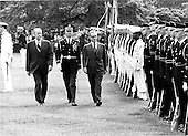 United States President Gerald R. Ford and Mohammad Reza Pahlavi, the Shah of Iran troop the line during arrival ceremonies welcoming His Highness to the White House on May 15, 1975.<br /> Credit: Benjamin E. &quot;Gene&quot; Forte - CNP
