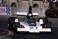 LONG BEACH, CA - MARCH 28: Mario Andretti drives the Parnelli VPJ4 002/Ford Cosworth in the inaugural United States Grand Prix West on March 28, 1976, on the temporary street course in Long Beach, California.