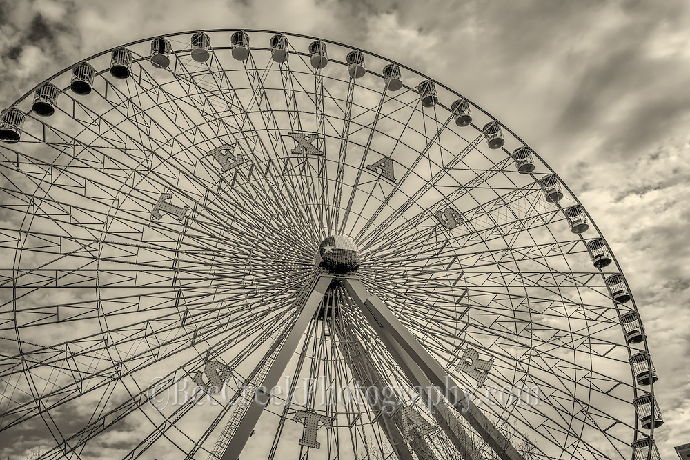 Vintage look of the Texas Star Ferris Wheel in Dallas.  This is one of the largest Ferris Wheel in the US,