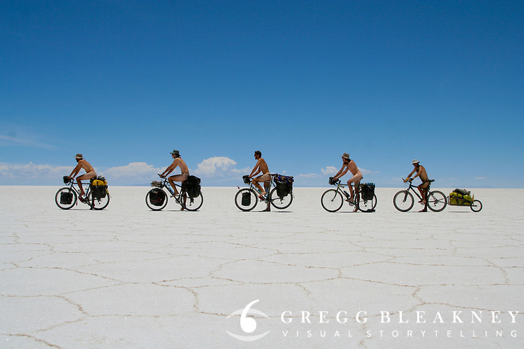 The Full Monty Rides Bicycle - Salar de Uyuni - Bolivia - South America