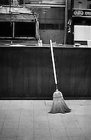 Broom. Taken in a local, southern barbeque, eatery named Cozy Corner. Memphis,  Tennessee, USA December 2003 © Stephen Blake Farrington