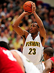 21 January 2010: University of Vermont Catamount forward Marqus Blakely, a Senior from Metuchen, NJ, sinks a free throw foul shot against the Stony Brook University Seawolves at Patrick Gymnasium in Burlington, Vermont. The Catamounts fell to the Seawolves 65-60 in the America East matchup. Mandatory Credit: Ed Wolfstein Photo