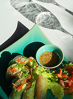 Exotic Spring Rolls, high end Restaurant  Food dish