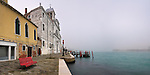 A panoramic view of the Fondamenta of the Giudecca with the Zitelle Church in the foreground. Taken on a foggy morning of mid January, this is stitched from seven vertical frames.