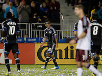 Rafael Baca of Earthquakes celebrates after made an assist to Gordon's goal during the game against Rapids at Buck Shaw Stadium in Santa Clara, California on August 25th, 2012.   San Jose Earthquakes defeated Colorado Rapids, 4-1.