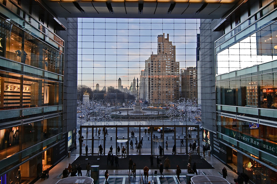 New York City, New York, Time Warner Center. Designed by David Childs of Skidmore, Owings &amp; Merrill LLP, 10 Columbus Circle, Late Modern (International Style III), Interior