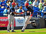 7 March 2009: Washington Nationals' outfielder Leonard Davis 'rounds third after hitting a home run during a Spring Training game against the New York Mets at Tradition Field in Port St. Lucie, Florida. The Nationals defeated the Mets 7-5 in the Grapefruit League matchup. Mandatory Photo Credit: Ed Wolfstein Photo