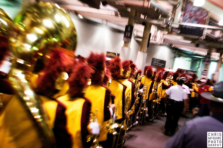 12 September 2009:  Football -- The USC band leaves Ohio Stadium in Columbus following their 18-15 victory over Ohio State.  Photo by Christopher McGuire.