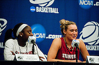 NORFOLK, VA--Joslyn Tinkle fields questions from the media at the Ted Constant Convocation Center at Old Dominion University in Norfolk, VA for the first and second rounds of the 2012 NCAA tournament.
