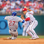 15 June 2016: Washington Nationals shortstop Danny Espinosa turns a double-play to end the 10th inning against the Chicago Cubs at Nationals Park in Washington, DC. The Nationals defeated the Cubs 5-4 in 12 innings to take the rubber match of their 3-game series. Mandatory Credit: Ed Wolfstein Photo *** RAW (NEF) Image File Available ***