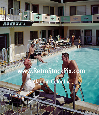 Couple by the pool of the Elray Motel, Wildwood NJ