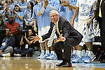 02 February 2013: UNC head coach Roy Williams urges his team on. The University of North Carolina Tar Heels played the Virginia Tech Hokies at the Dean E. Smith Center in Chapel Hill, North Carolina in an NCAA Division I Men's college basketball game. UNC won the game 72-60 after overtime.