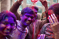 People take part during Holi Hai Celebration in New York , March 31, 2013. The festival has many purposes. First and foremost, it celebrates the beginning of the new season, spring.VIEWpress /Kena Betancur