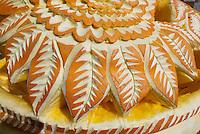 Sunflower carved into huge pumpkin, Damariscotta pumpkin festival, Maine, USA
