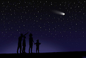 A family observing a comet in the night sky.