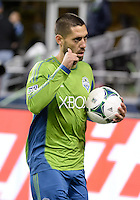 November, 2013: CenturyLink Field, Seattle, Washington: Seattle Sounders FC forward Clint Dempsey (2) signals thumbs up as the Portland Timbers take on the Seattle Sounders FC in the Major League Soccer Playoffs semifinals Round. Portland led 1-0 at the half.