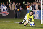 14 December 2007: Wake Forest's Brian Edwards makes a save. The Wake Forest University Demon Deacons defeated the Virginia Tech University Hokies 2-0 at SAS Stadium in Cary, North Carolina in a NCAA Division I Men's College Cup semifinal game.